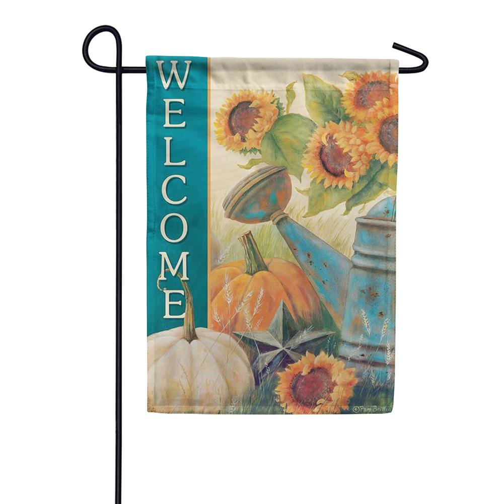 Sunflower Watering Can Double Sided Garden Flag