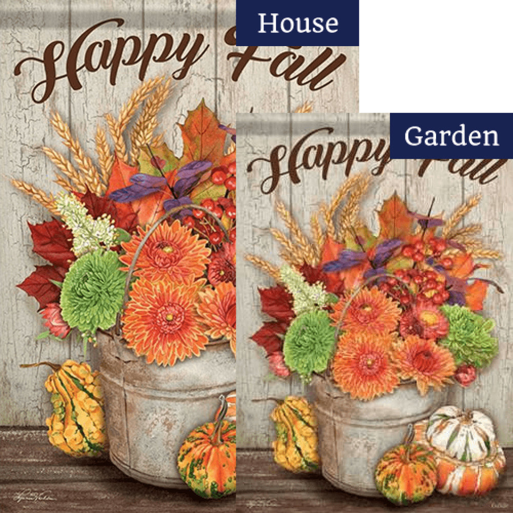 Fall Bucket and Gourds Double Sided Flags Set (2 Pieces)