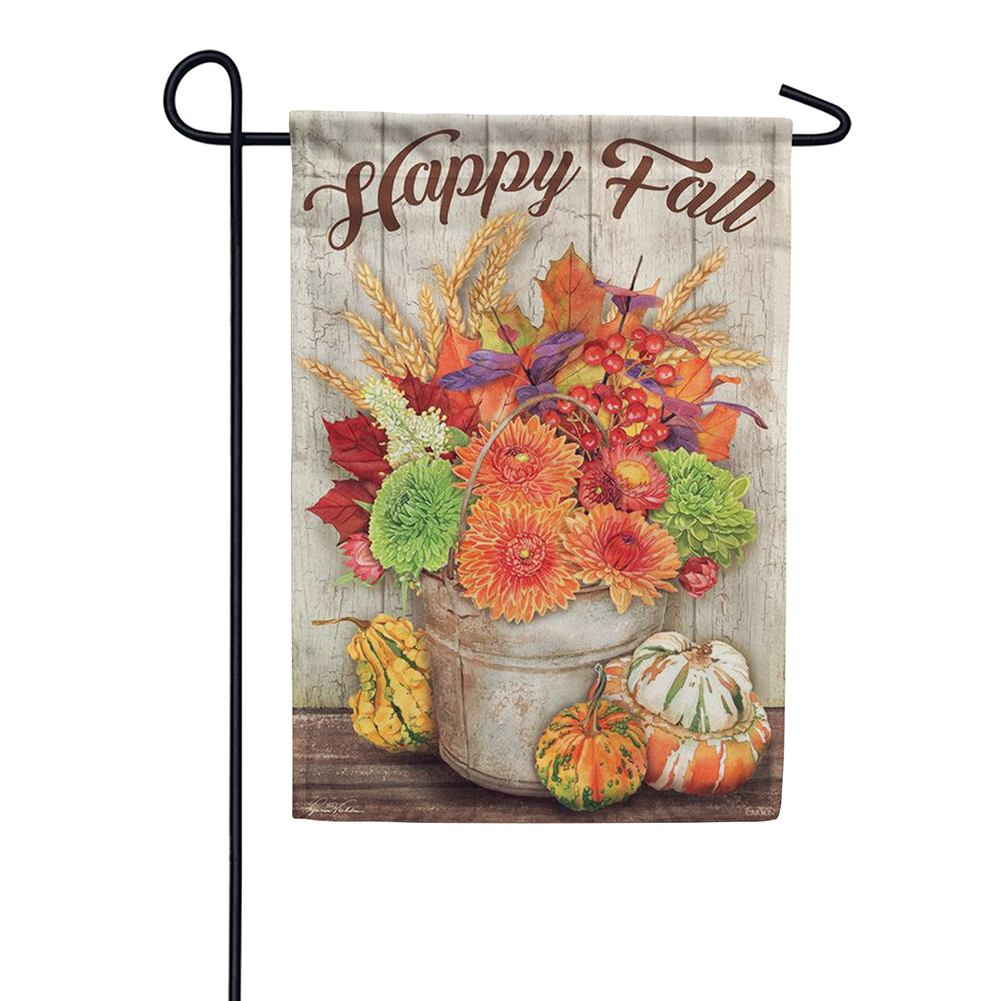 Fall Bucket and Gourds Double Sided Garden Flag