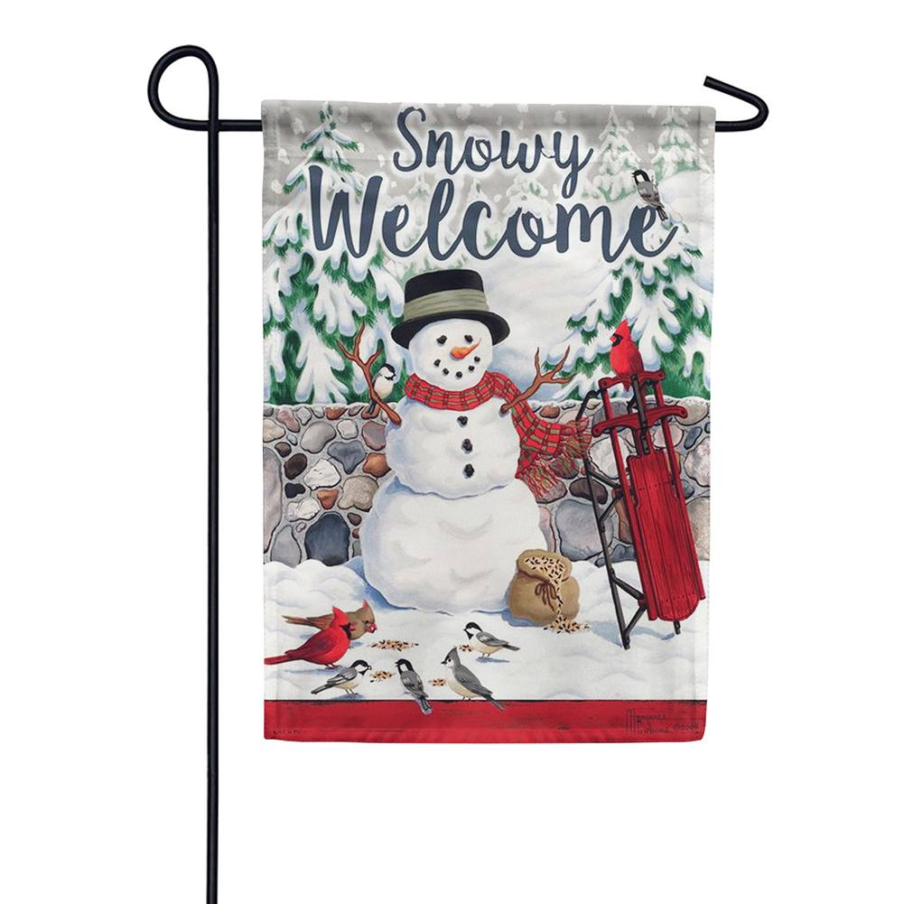 Stonewall Snowman Double Sided Garden Flag
