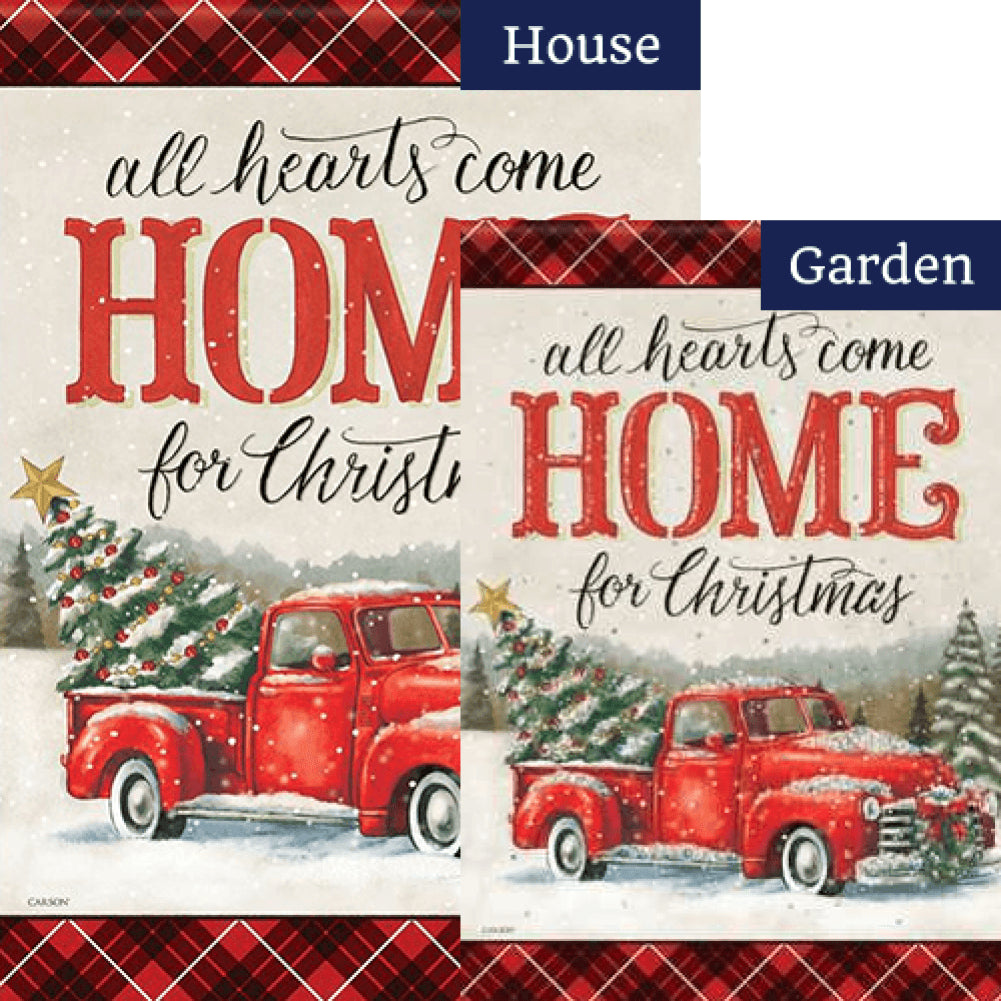 All Hearts Christmas Double Sided Flags Set (2 Pieces)