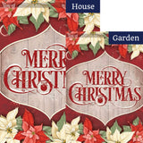 Merry XMas Poinsettia Double Sided Flags Set (2 Pieces)