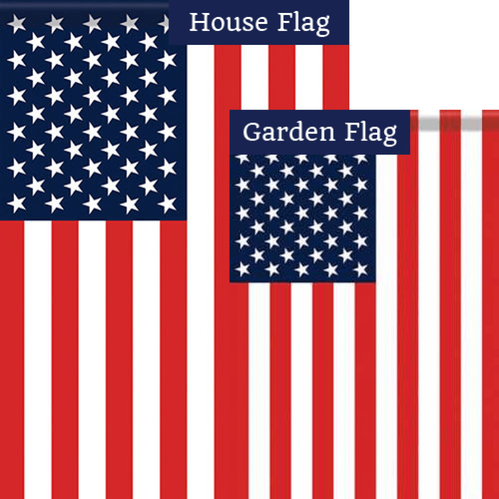 American Flag Double Sided Flags Set (2 Pieces)