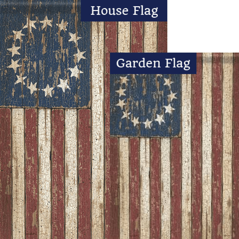 Primitive American Flag Double Sided Flags Set (2 Pieces)