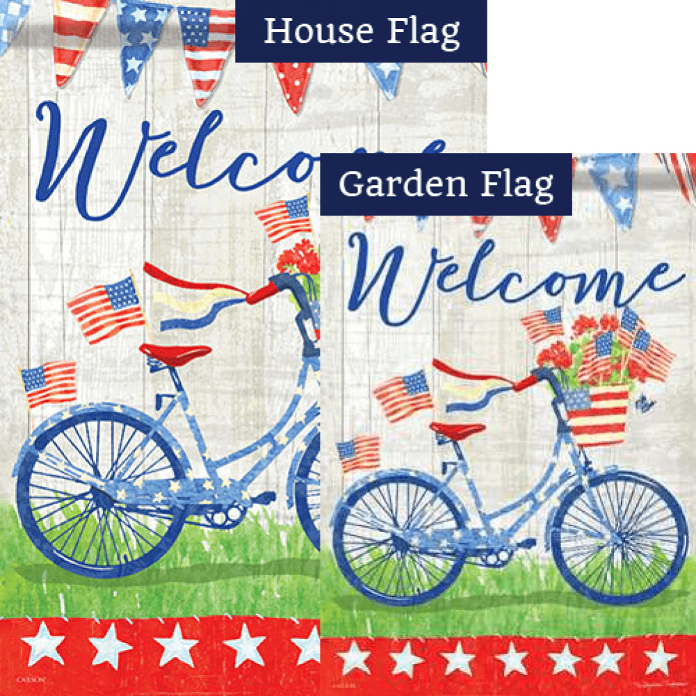 Patriotic Bike Ride Welcome Double Sided Flags Set (2 Pieces)