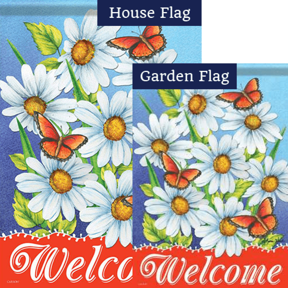 Welcome Daisies Butterflies Double Sided Flags Set (2 Pieces)
