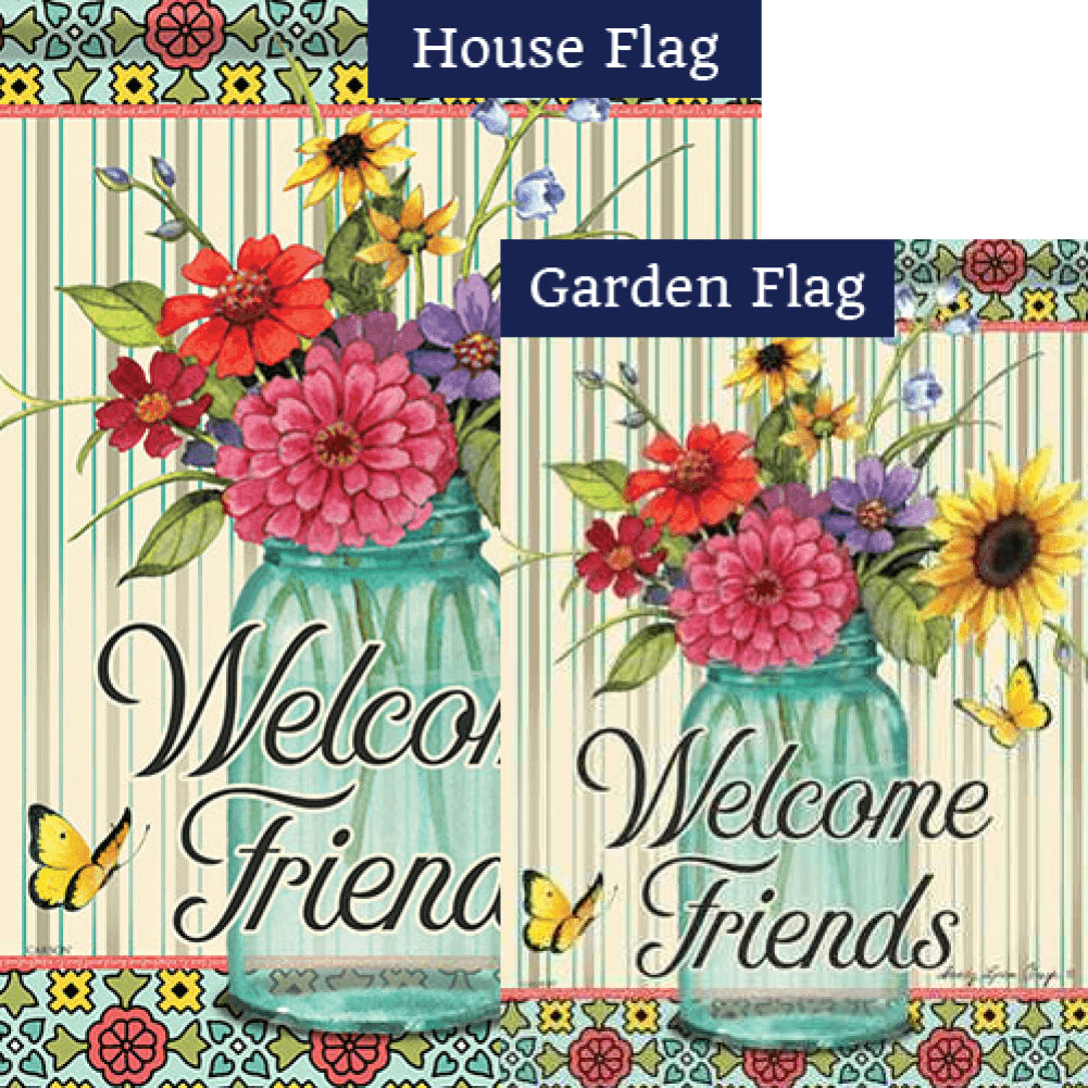 Floral Centerpiece Double Sided Flags Set (2 Pieces)