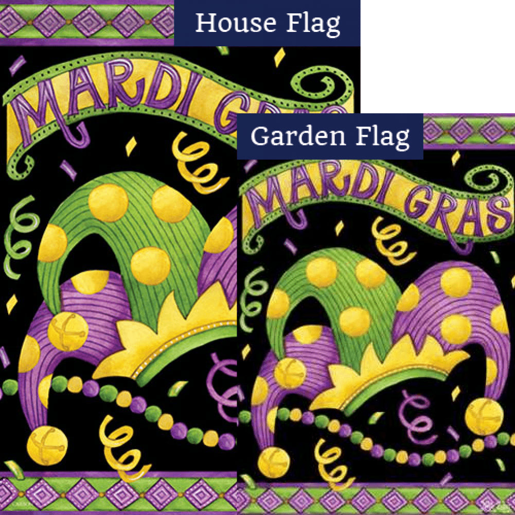 Mardi Gras Crown Double Sided Flags Set (2 Pieces)