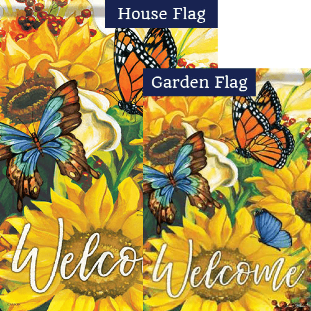 Bright Sunny Welcome Double Sided Flags Set (2 Pieces)
