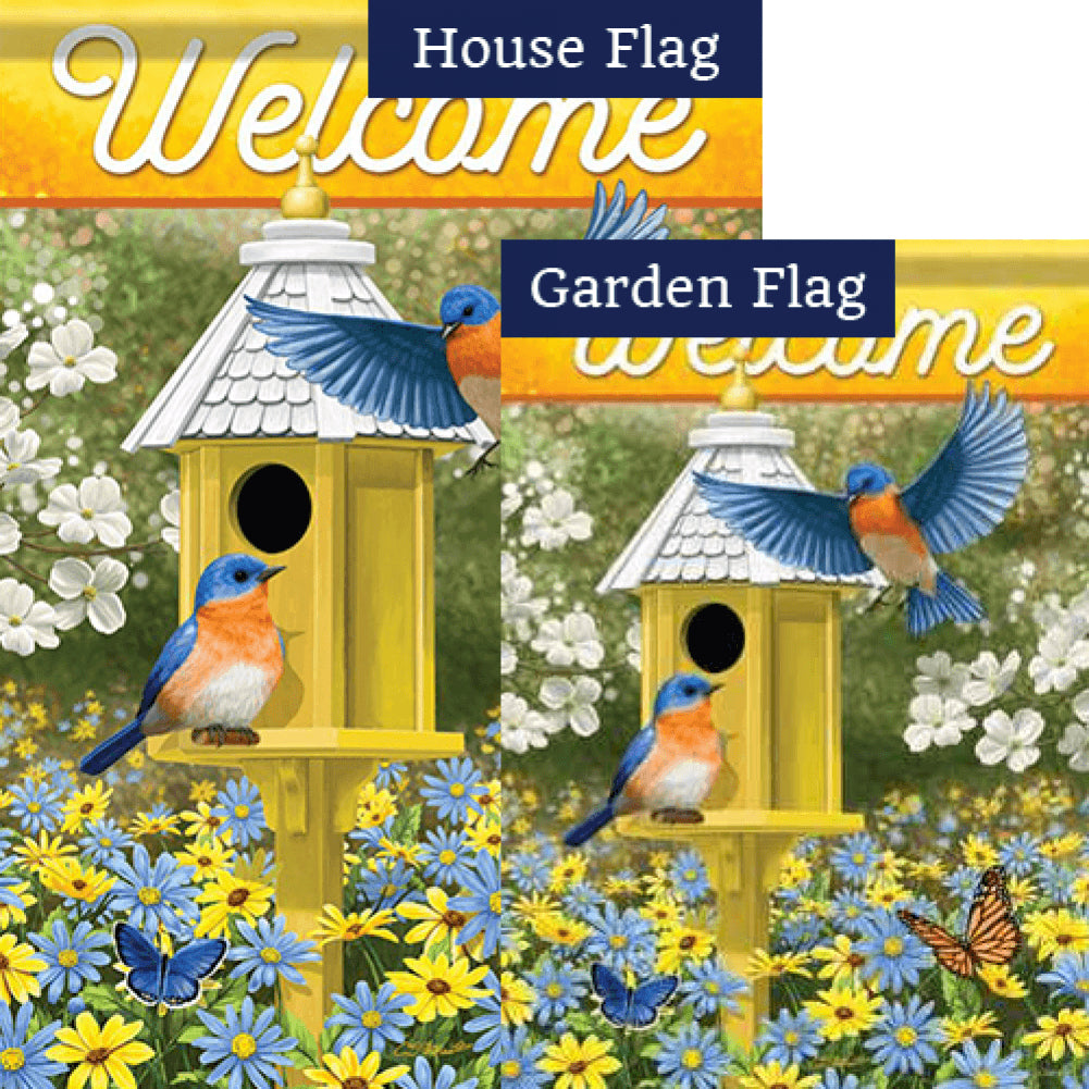 Delightful Bluebirds Double Sided Flags Set (2 Pieces)