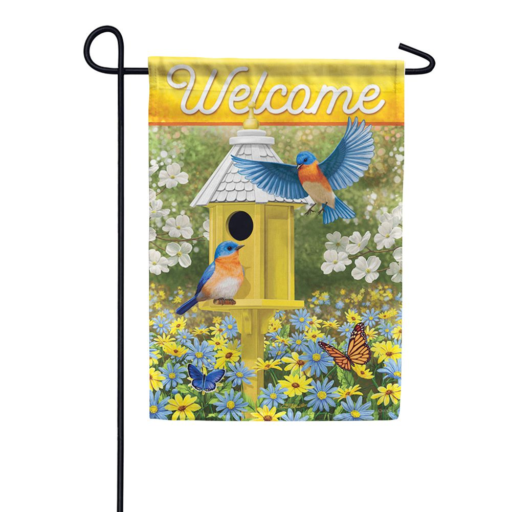 Delightful Bluebirds Double Sided Garden Flag