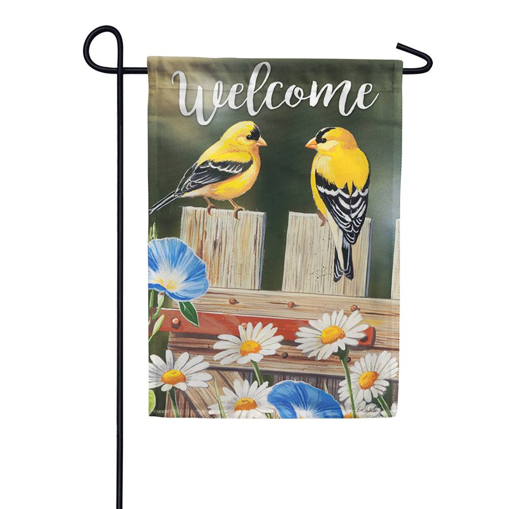 Bluebell Goldfinches Double Sided Garden Flag