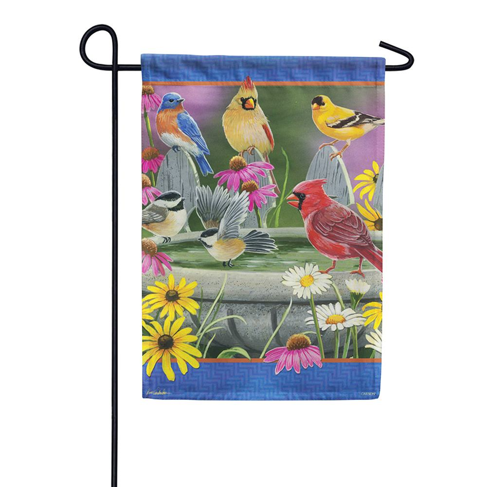 Birdbath Meeting Double Sided Garden Flag