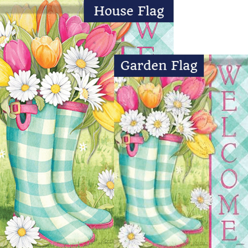 Spring Boots Glitter Trends Double Sided Flags Set (2 Pieces)