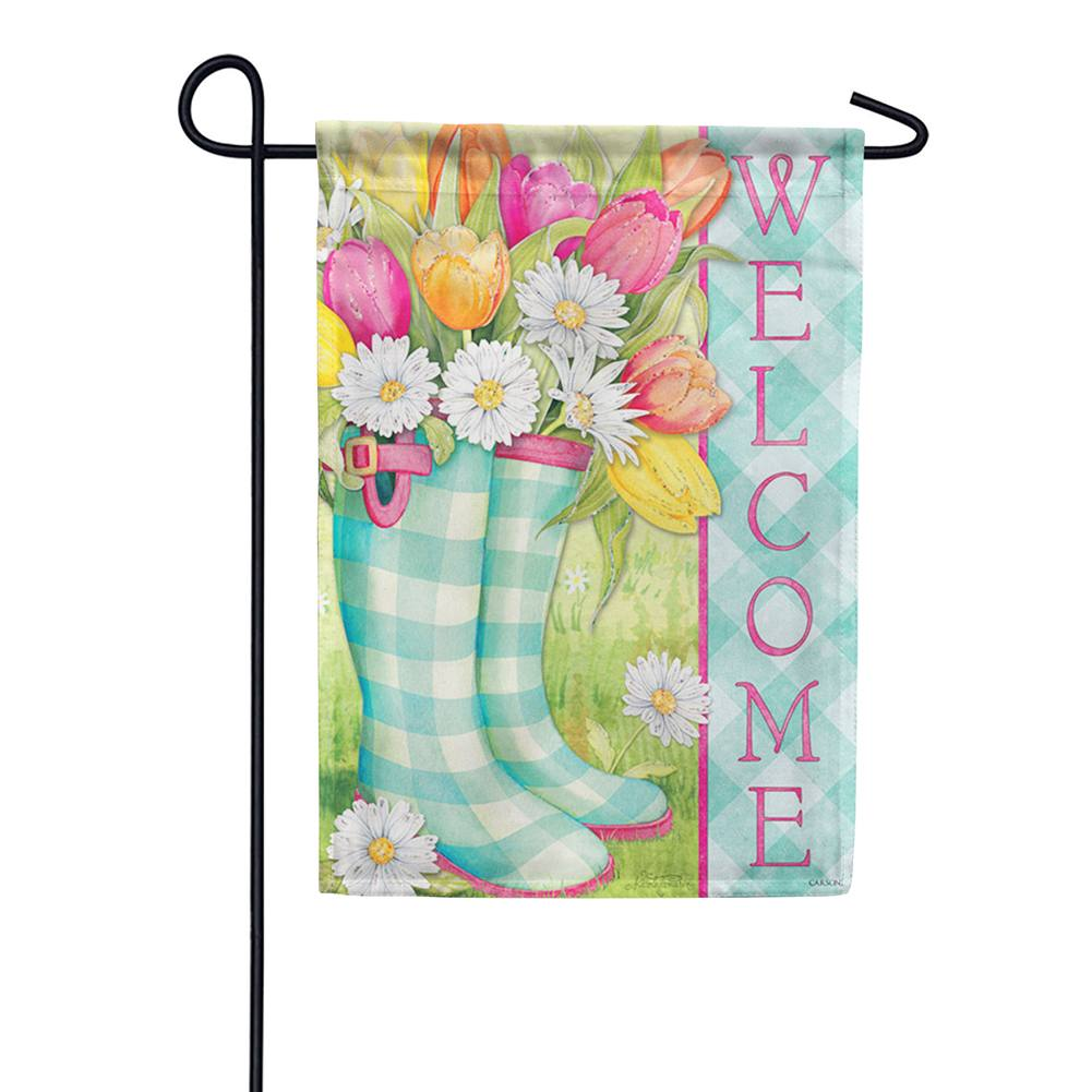 Spring Boots Glitter Trends Double Sided Garden Flag
