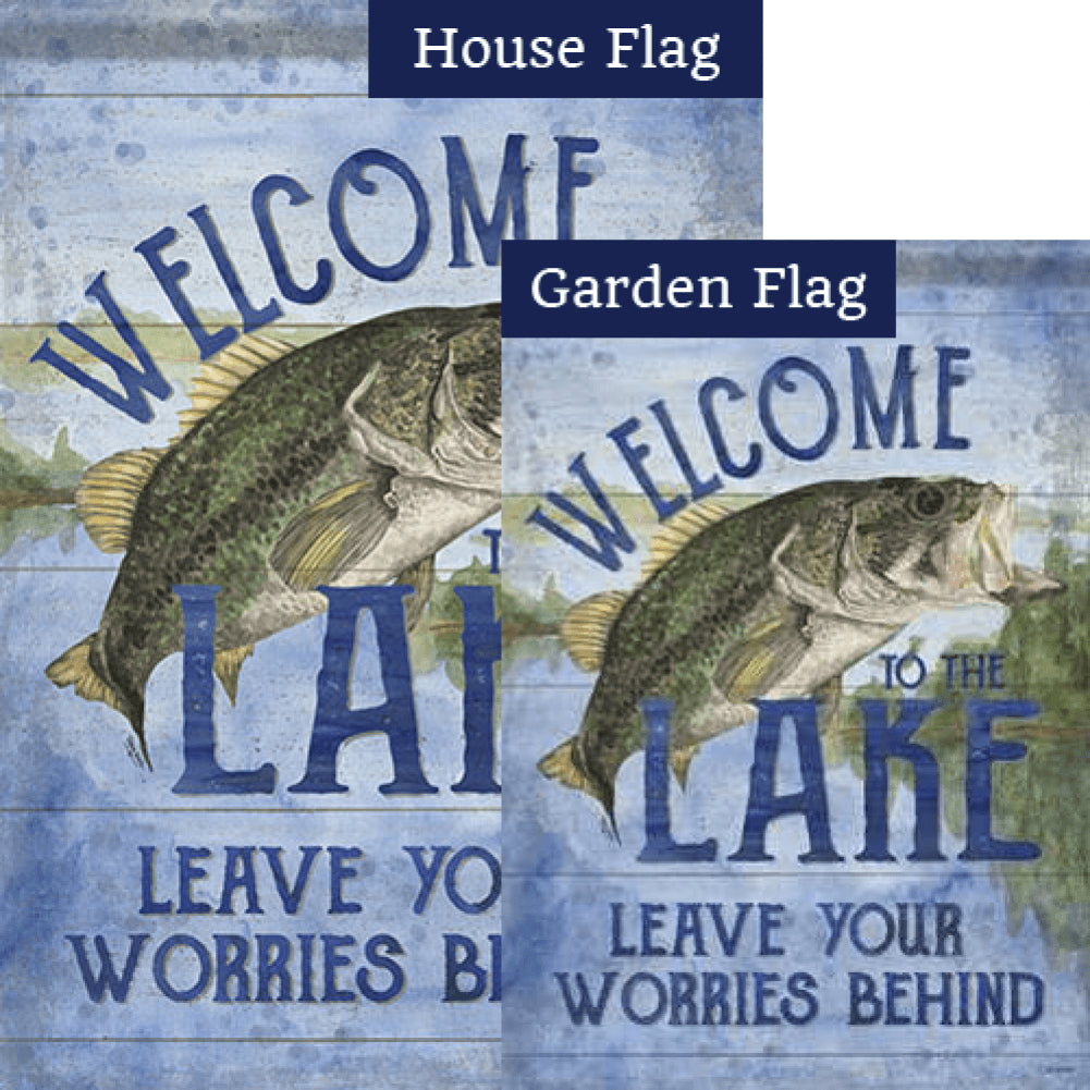 Leave Worries Behind Double Sided Flags Set (2 Pieces)