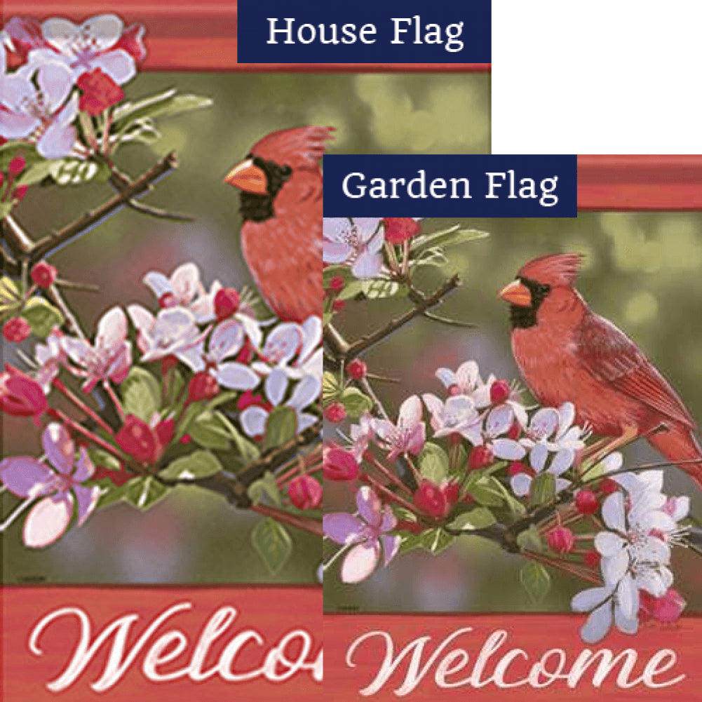 Pretty Cardinal Double Sided Flags Set (2 Pieces)