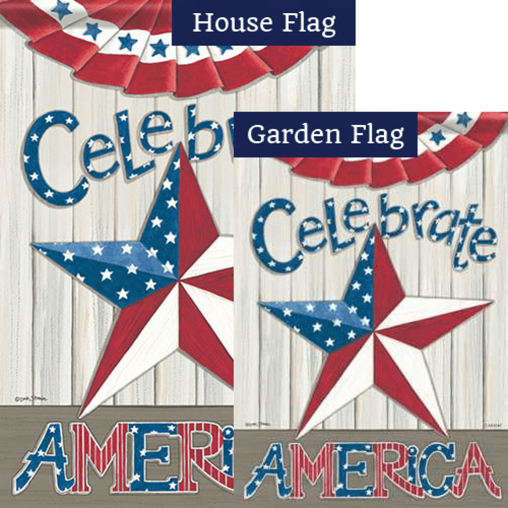 Celebrate America Star Double Sided Flags Set (2 Pieces)