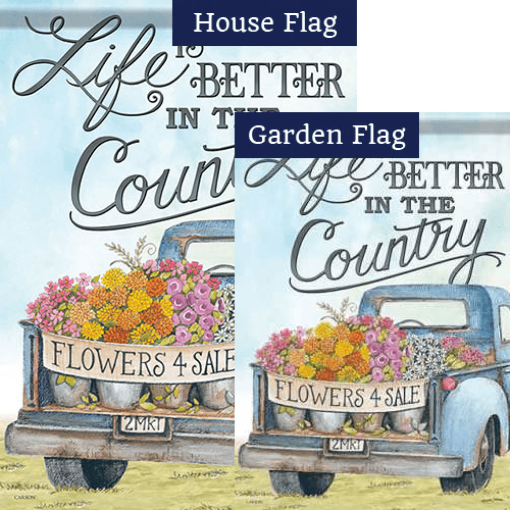 Life Is Better In The Country Double Sided Flags Set (2 Pieces)