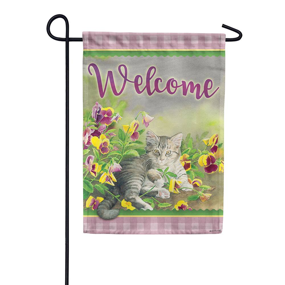 Pansy Kitten Double Sided Garden Flag
