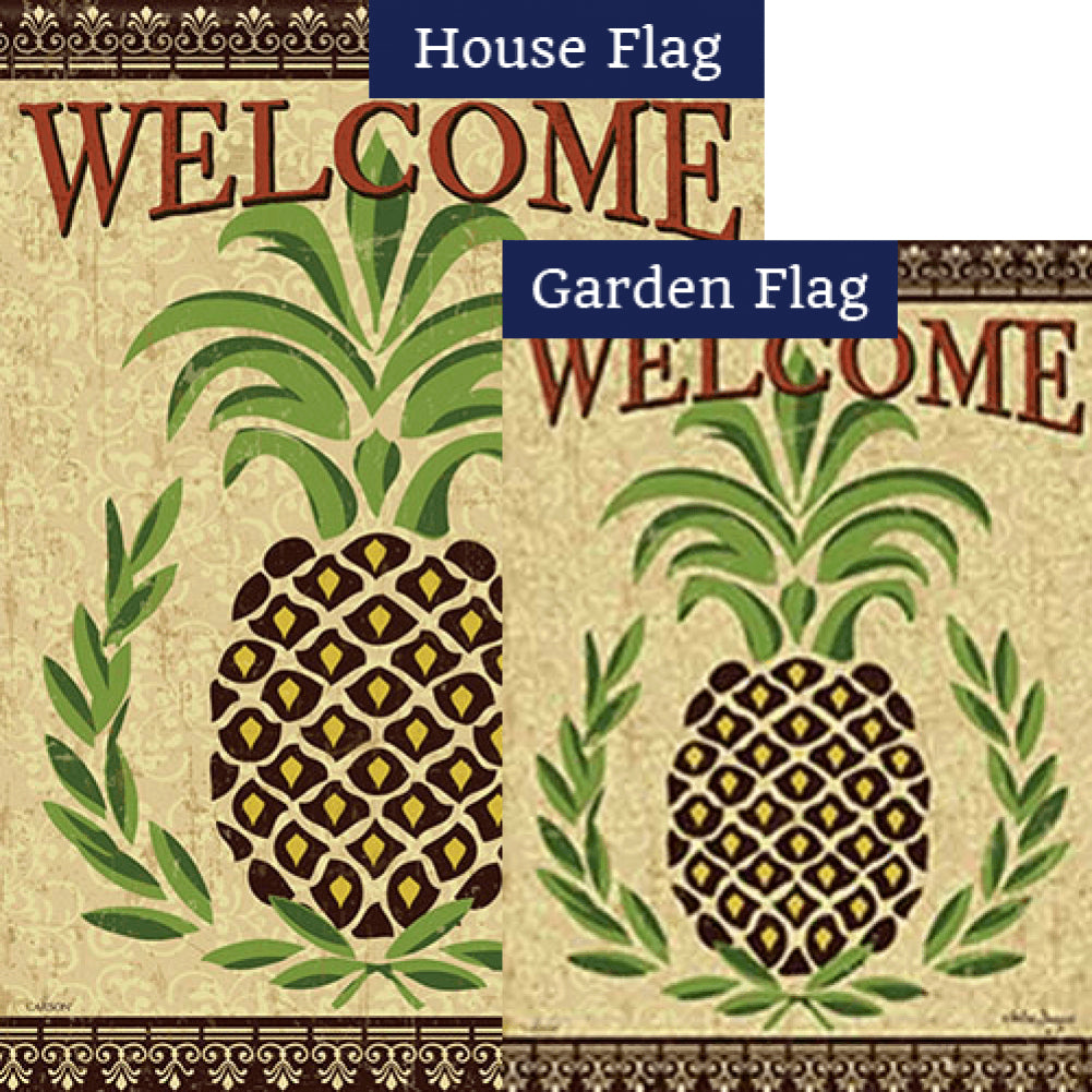 Primitive Pineapple Double Sided Flags Set (2 Pieces)
