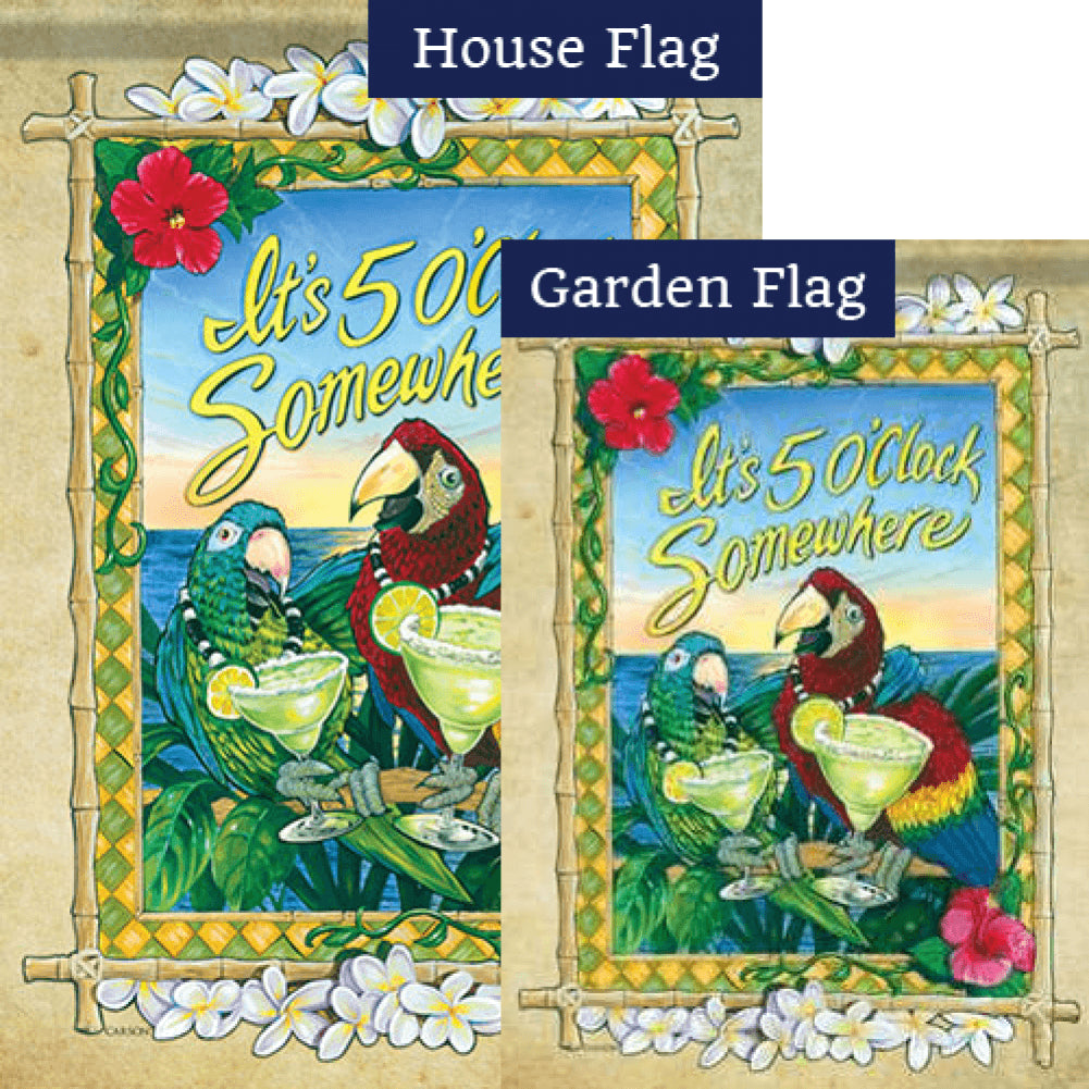 5 O'Clock Parrots Double Sided Flags Set (2 Pieces)