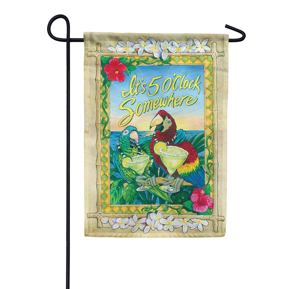 5 O'Clock Parrots Double Sided Garden Flag
