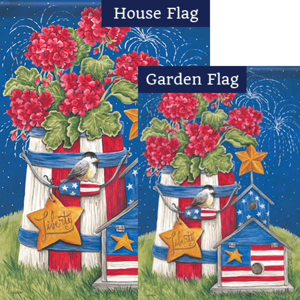 Patriotic Garden Fireworks Double Sided Flags Set (2 Pieces)