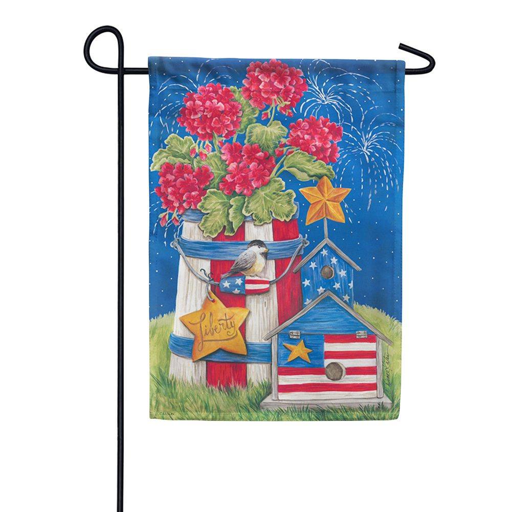 Patriotic Garden Fireworks Double Sided Garden Flag