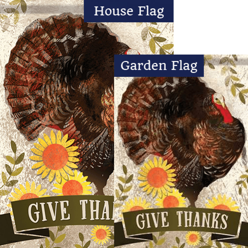 Proud Turkey Give Thanks Flags Set (2 Pieces)