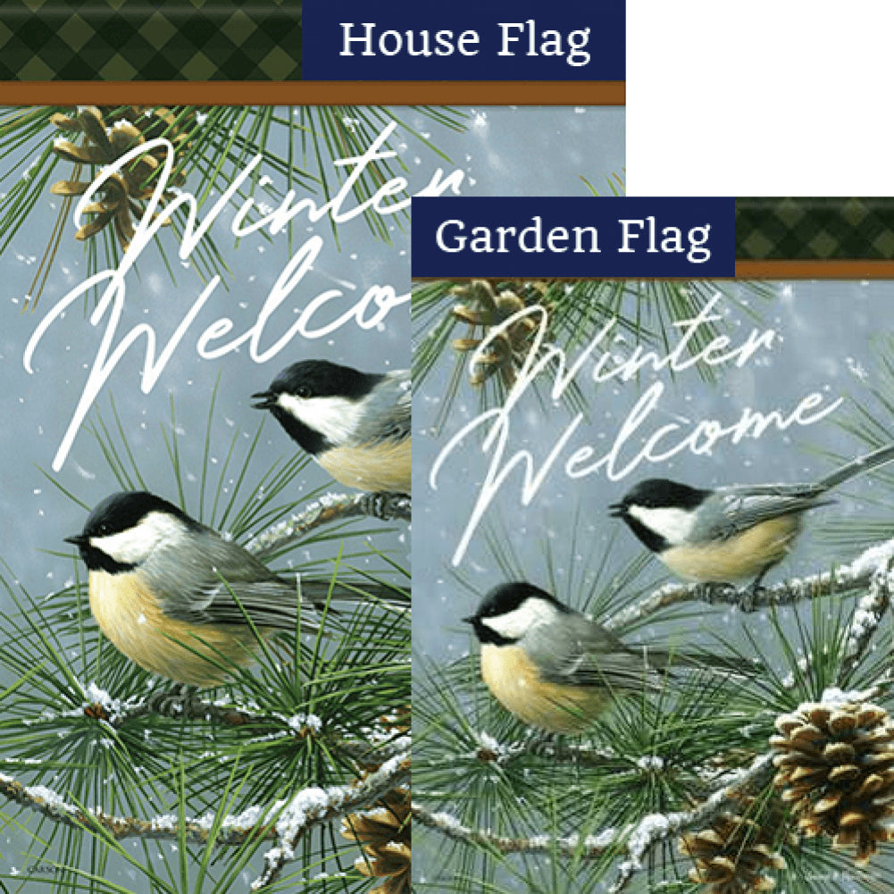 Chickadees & Pine Welcome Glitter Trends Flags Set (2 Pieces)