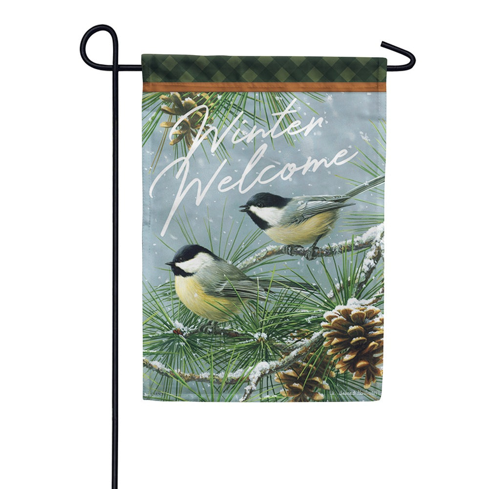 Chickadees & Pine Welcome Glitter Trends Garden Flag