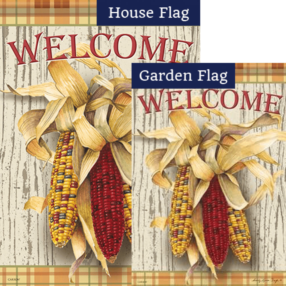 Harvest Corn Welcome Flags Set (2 Pieces)