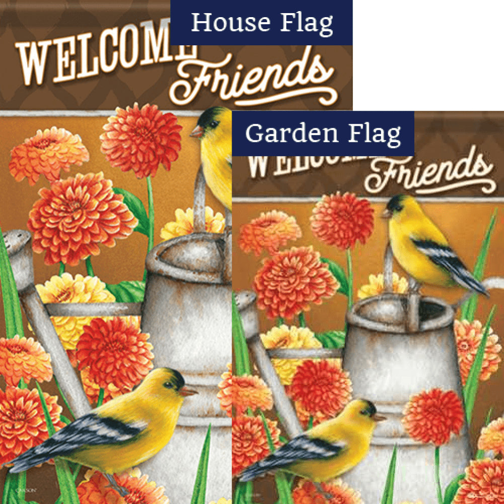 Goldfinch & Zinnias Flags Set (2 Pieces)