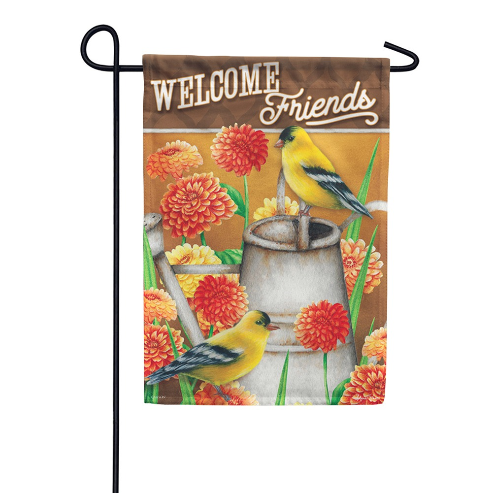 Goldfinch & Zinnias Garden Flag