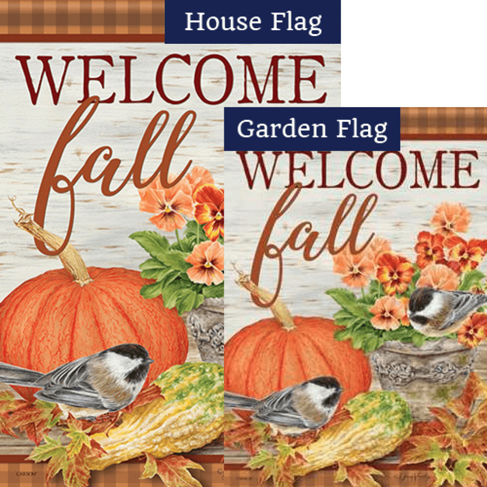 Pumpkin & Pansies Flags Set (2 Pieces)