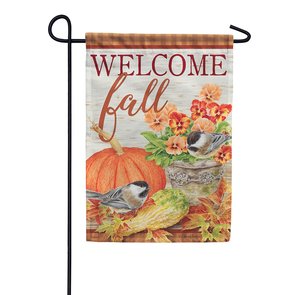 Pumpkin & Pansies Garden Flag