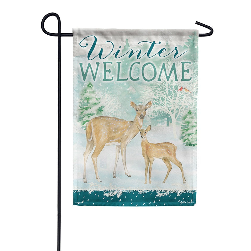 Winter Deer Welcome Garden Flag