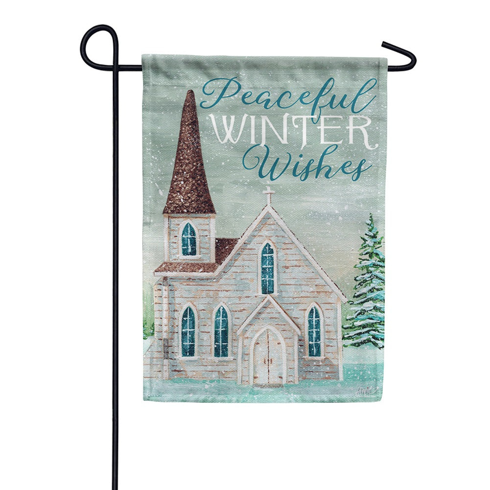Peaceful Church Garden Flag