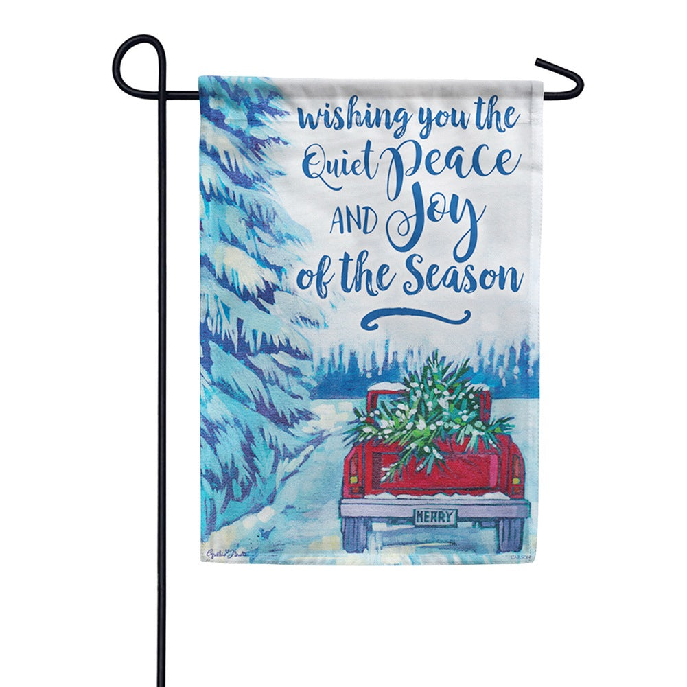 Quiet Peace Red Truck Garden Flag