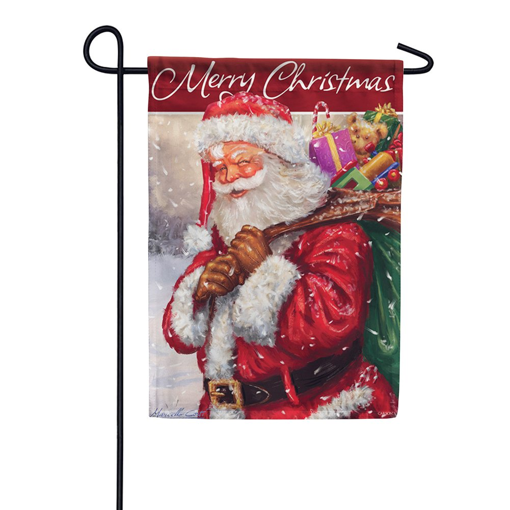 Jolly Santa Merry Christmas Glitter Trends Garden Flag