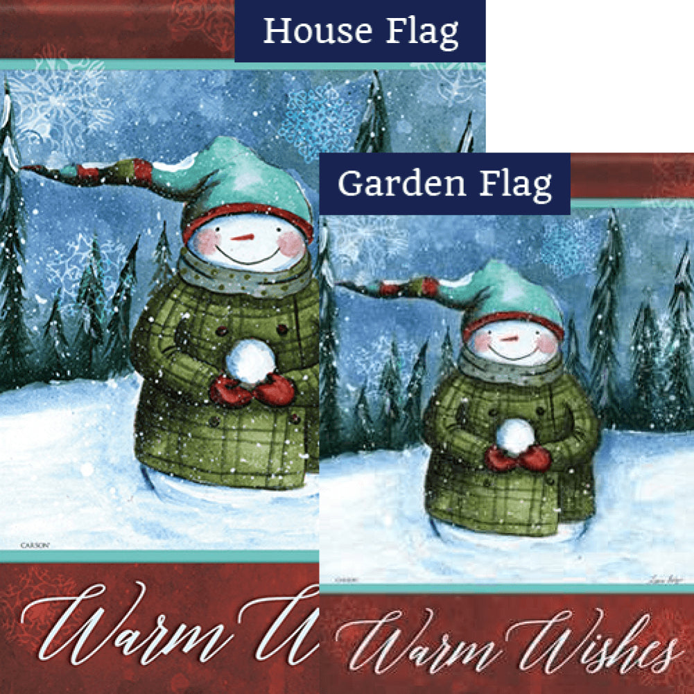 Warm Snowman Wishes Flags Set (2 Pieces)