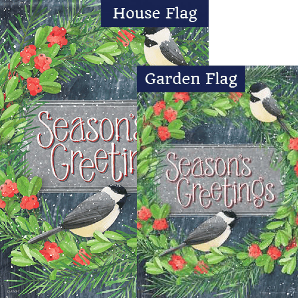Chickadee Greetings Flags Set (2 Pieces)