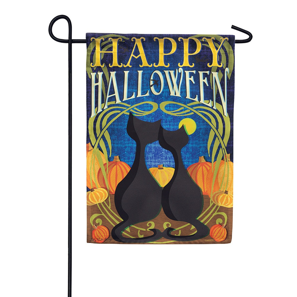 Black Cats Halloween Garden Flag