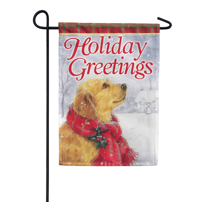 Friendly Holiday Greetings Garden Flag