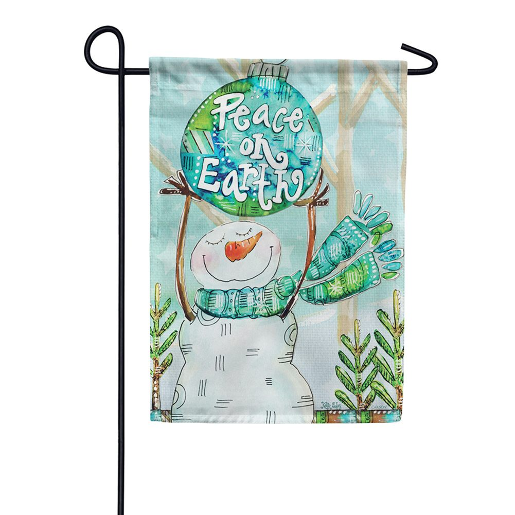 Peace On Earth Snowman Garden Flag