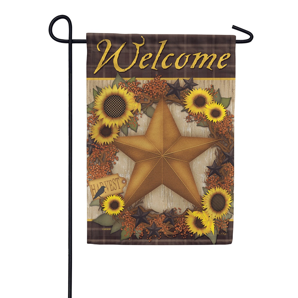 Sunflower Harvest Wreath Garden Flag