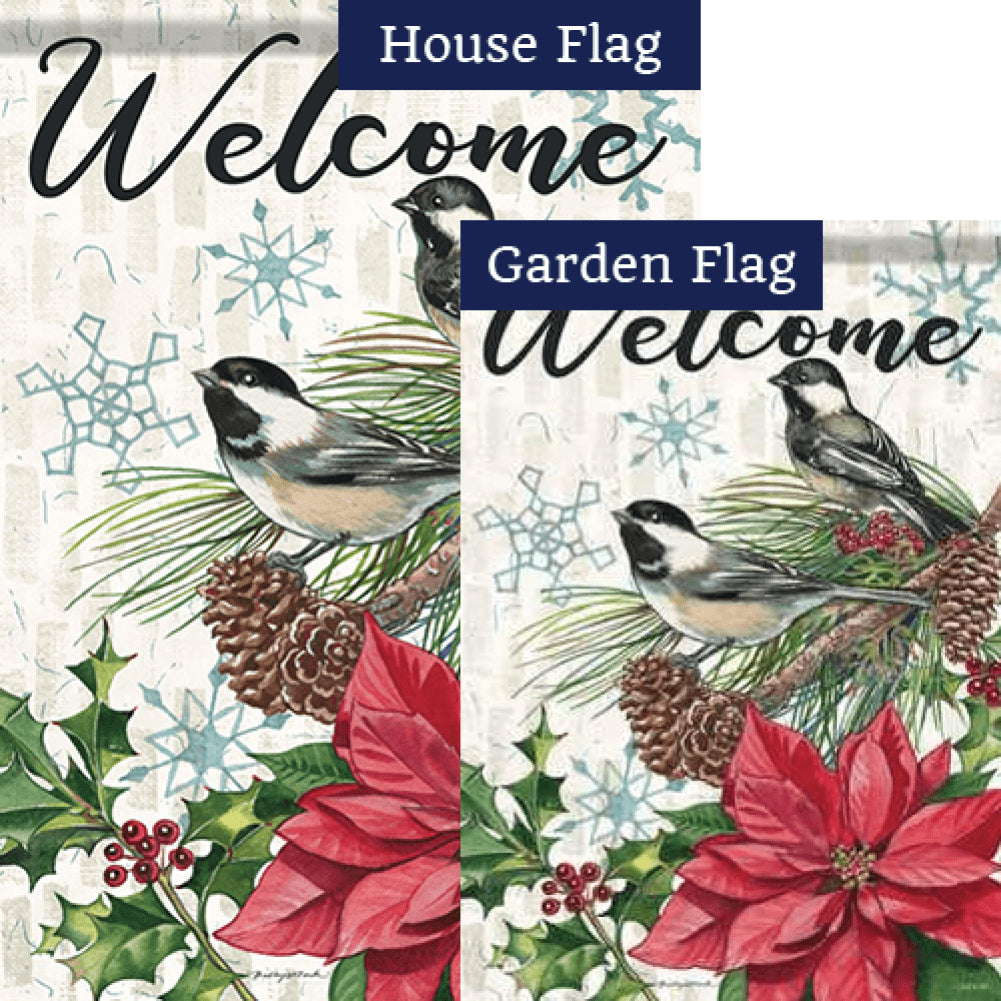 Pine & Poinsettias Flags Set (2 Pieces)