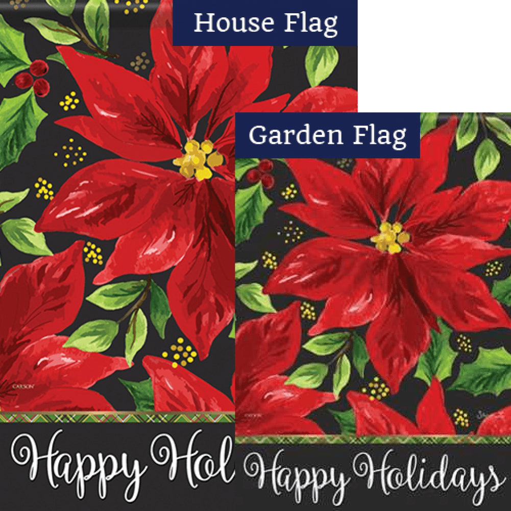 Poinsettia Holiday Flags Set (2 Pieces)
