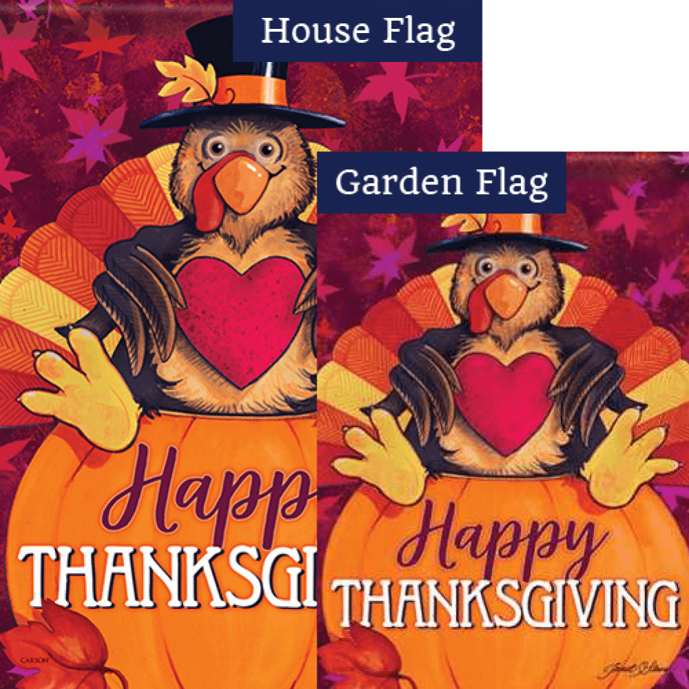 Happy Turkey Glitter Flags Set (2 Pieces)